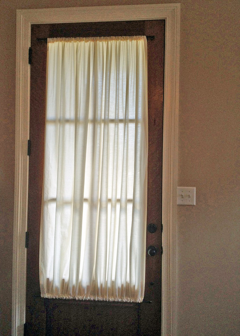 Ivory privacy curtains yesterday 39 s thimble for Front door window curtains