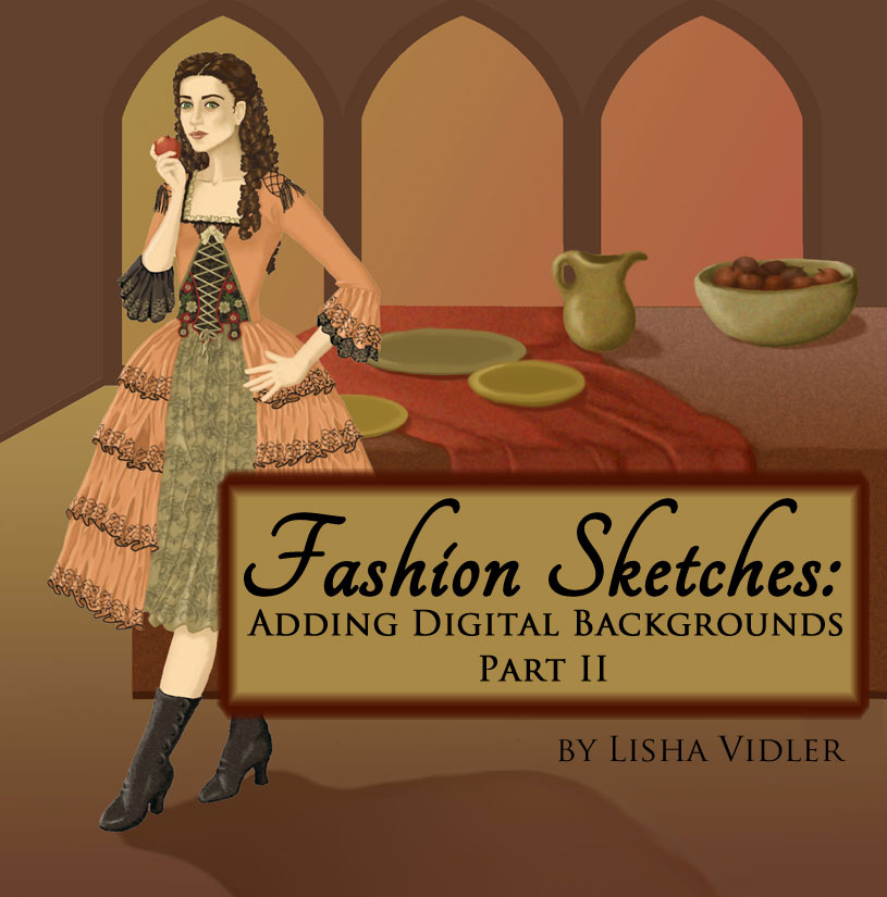 Fashion Sketches: Adding a Digital Background, Part II